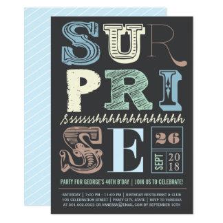 Cartão O aniversário adulto azul do partido de surpresa