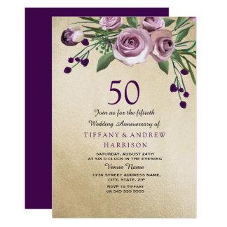Cartão O aniversário de casamento do ouro 50th do rosa do