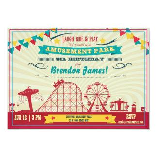 Cartão O aniversário do carnaval do Funfair do parque de