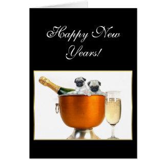 Cartão O ano novo dos pugs