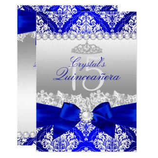 Cartão O arco Quinceanera da pérola do damasco dos azuis