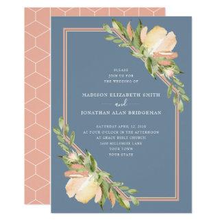 Cartão O azul empoeirado cora casamento floral do
