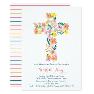 Cartão o baptismo floral convida, rosa que a cruz amarela