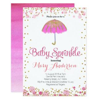 Cartão O bebê COR-DE-ROSA do BRILHO polvilha o