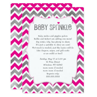 Cartão O bebê da menina da prata do rosa quente polvilha