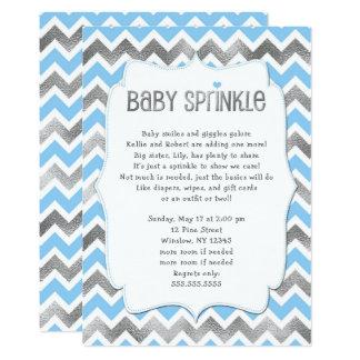 Cartão O bebê de prata azul polvilha o menino que o chá