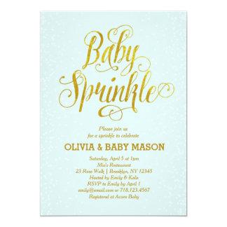 Cartão O bebê do menino polvilha o ouro do azul do