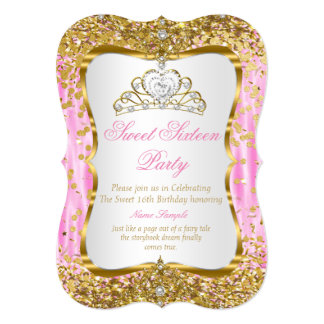Cartão O branco cor-de-rosa do ouro da princesa Doce 16