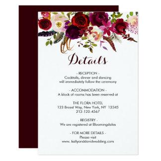 Cartão O casamento floral de Boho Borgonha Marsala