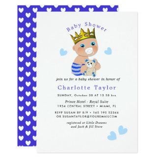 Cartão O chá bonito do príncipe bebé dos corações azuis