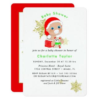 Cartão O chá de fraldas bonito do papai noel do Natal