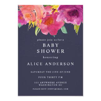 Cartão O chá de fraldas floral do jardim da aguarela do