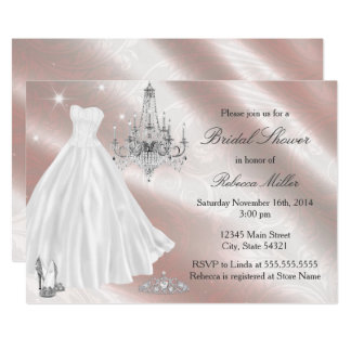 Cartão O chá de panela bonito do vestido de casamento