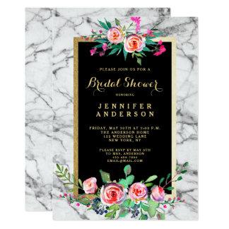 Cartão O chá de panela Wedding de mármore dos rosas
