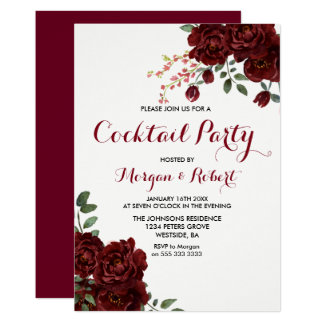 Cartão O cocktail floral da rosa vermelha de Borgonha