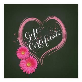 Cartão O coração cor-de-rosa floresce o certificado de
