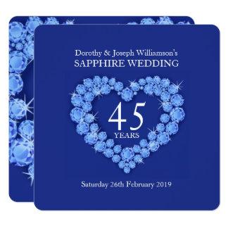 Cartão O coração do casamento da safira 45 anos de