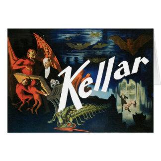 Cartão O ~ de Kellar o ato mágico do vintage do diabo