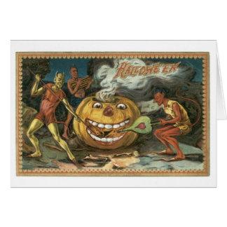 Cartão O Dia das Bruxas antiquado, diabos