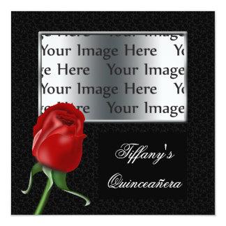 Cartão o doce dezesseis da rosa vermelha ou a foto do