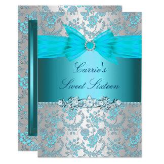 Cartão O doce dezesseis do arco do rosa do azul convida