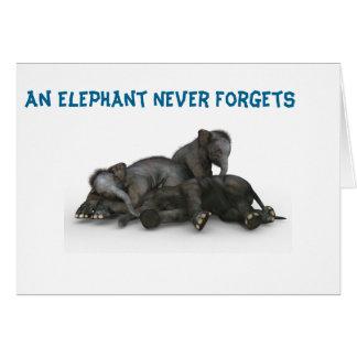 Cartão O elefante nunca esquece a família 5x7 da amizade