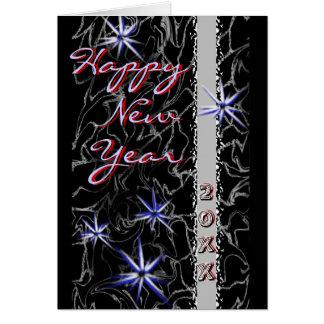Cartão O feliz ano novo com Starbursts/cartão dos