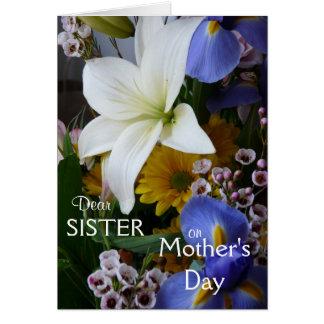 Cartão O floral Dia-Irmã-Bonito da mãe feliz