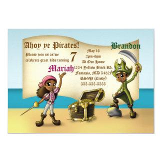 """Cartão O """"gêmeo pirateia os convites"""" 7"""" do aniversário x"""