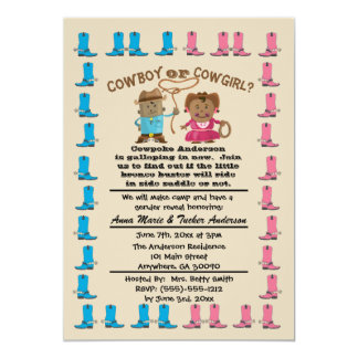 Cartão O género da vaqueira ou do vaqueiro revela o