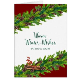 Cartão O inverno morno do Natal deseja a festão do pinho