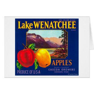Cartão O lago Wenatchee Apple etiqueta (azul) - a