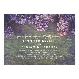 Cartão O Lilac floresce festa de noivado de madeira