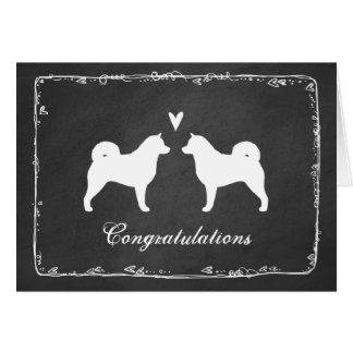 Cartão O Malamute do Alasca mostra em silhueta Congrats