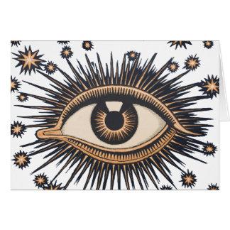 Cartão O olho celestial do vintage Stars a lua