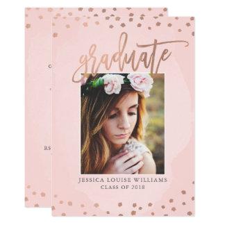 Cartão O ouro cor-de-rosa e cora festa de formatura