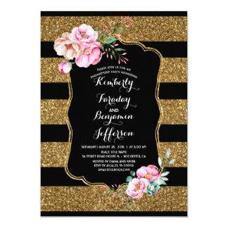 Cartão O ouro listra a festa de noivado floral do vintage