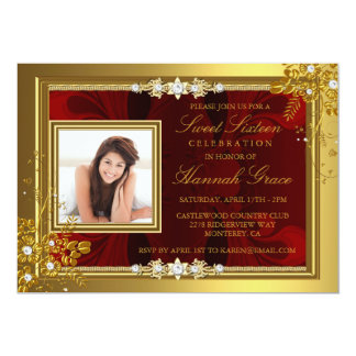 Cartão O ouro & o doce floral vermelho dezesseis da foto