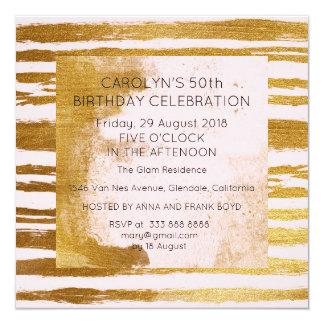 Cartão O ouro sujo do pó da festa de aniversário da