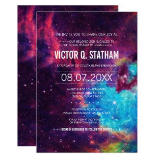 Cartão O partido colorido de Mitzvah do bar da galáxia