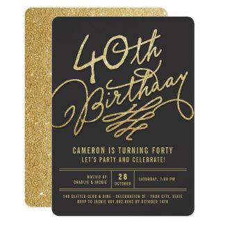 Cartão O partido de aniversário de 40 anos adulto Glam do