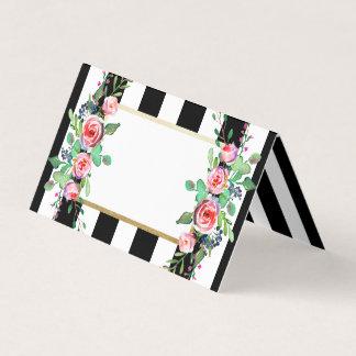 Cartão O preto floral do vintage chique listra o