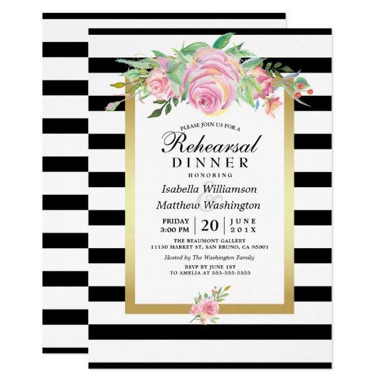 Cartão O preto moderno listra o jantar de ensaio floral