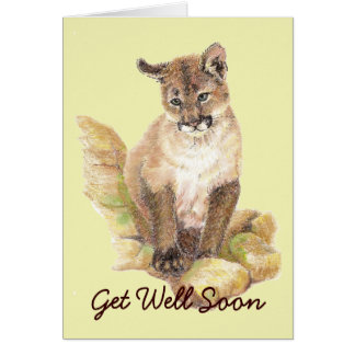 Cartão O puma bonito Cub consegue o poço logo