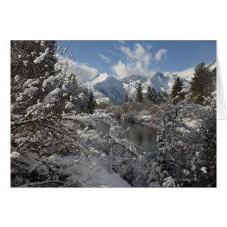 Cartão O rio de Wenatchee e os montes do