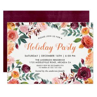 Cartão O rosa alaranjado de Borgonha floresce a festa