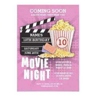 Cartão O rosa da festa de aniversário do cinema do filme