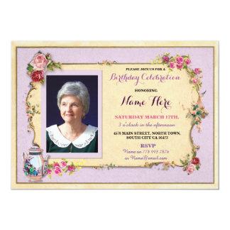 Cartão O rosa da foto do bule do jardim do aniversário do