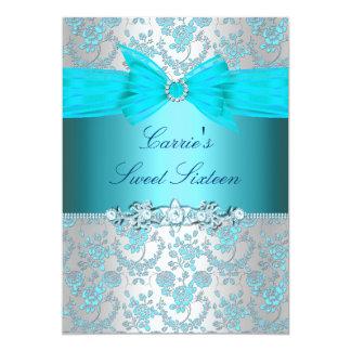 Cartão O rosa do azul & o doce dezesseis do arco convidam