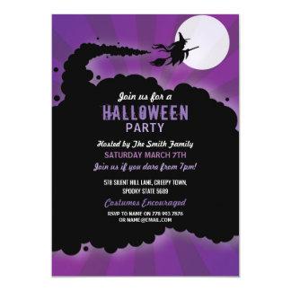 Cartão O roxo assustador do susto da bruxa do partido do